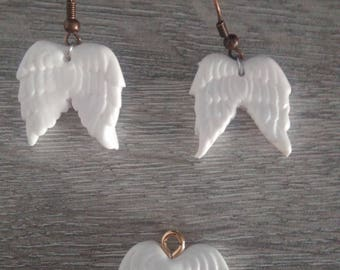 polymer clay Angel Wings ornament