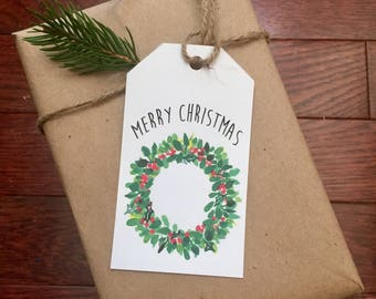 Christmas Wreath Gift tag printable instant download Merry Christmas Rustic Wreath
