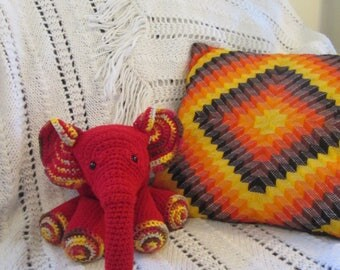 Red Handmade Crocheted Stuffed Elephant Child's Toy