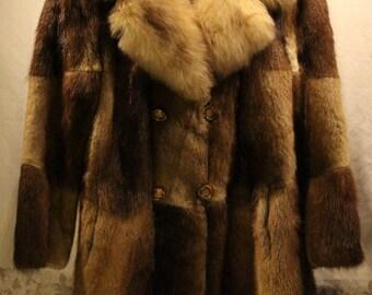 Mink Fur Coat - Brown and Beige - Sz M