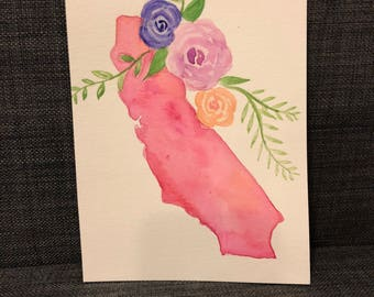 California State Watercolor - State of California - CA Watercolor - California Painting - State With Flowers - Floral Watercolor