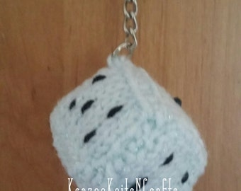 Knitted keyring dice, blue, bag charm, gift