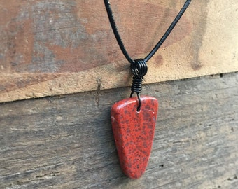 Fossilized Dinosaur Bone Pendant / Dinosaur Bone Necklace / Polished Red Stone Necklace / Natural Fossil Pendant
