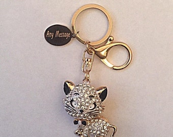 Personalised Cat Crystal Rhinestone Engraved Animal Keyring