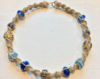 Natural hemp necklace w blue and yellow beads