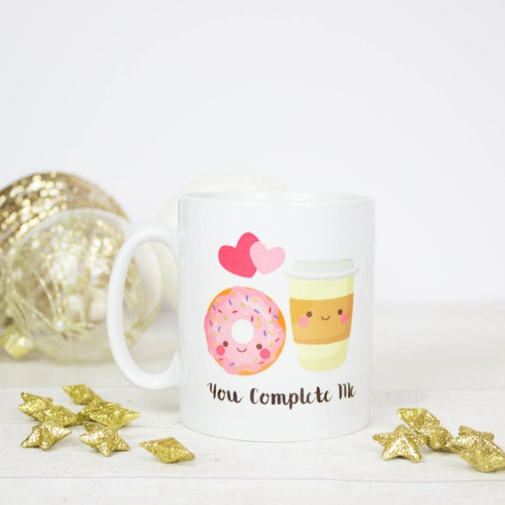 You complete me tea and donut mug. Really lovely mug for friend, partner or anyone who completes you. Valentine's gift for 2017.