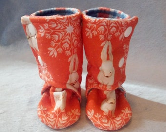 Winter Bunny: Soft Sole Baby Boots 0-3M