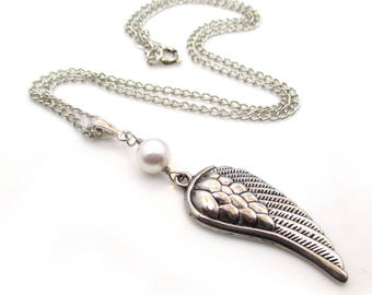 Silver Angel Wing Necklace, Silver Wing Necklace, Angel Wing, Memorial Necklace, Charm Necklace, Angel Jewelry, Wing Pendant - Angelica