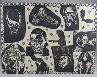 Classic Movie Monster Collage one of a kind linocut on wood