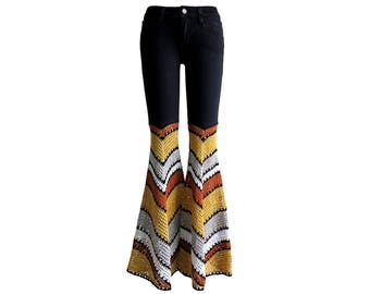 Custom Order - Add Bellbottoms to Your Own Jeans - Crochet - Metallic
