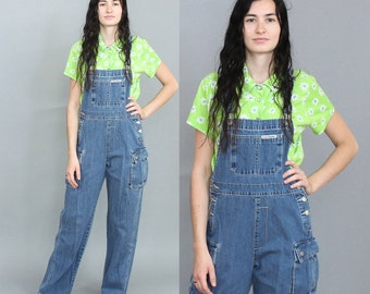 90's Blue Jean Overall Pants in Size Small Medium . 1990s Denim Overalls Bib Front Cross Back Throwback
