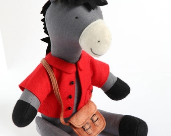 Reuben the Donkey: Donkey pattern, donkey PDF pattern, donkey plush, donkey toy, donkey with clothes, sewing pattern