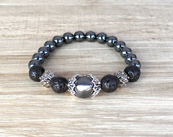 Unisex Beaded Bracelet Hematite Unisex Perfect For A Man or Woman Black Lava Rock Add Your Aromatherapy Oils Stretch Artisan Stackable