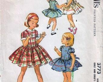 1950s McCall's 3773 Vintage Sewing Pattern Girls Party Dress, Full Skirt Dress, Drop Waist Dress Size 6
