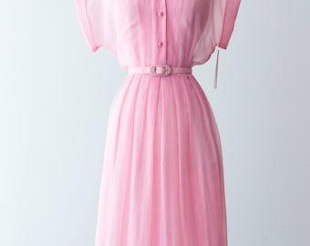 Vintage 1950s Dress - Textured Crepe Sheer 50s Bubble Gum Pink Shirtwaist Dress w/ Matching Belt & Slip, Pleated Full Skirt // Waist 28