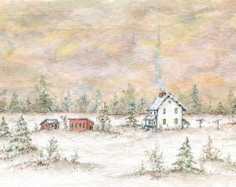 Little Snow Farm/Watercolor and Ink Original Painting