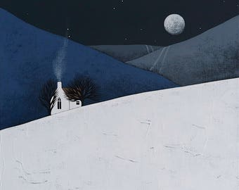 "Moon Rise 3 - Original 12x12"" Contemporary Night Landscape Painting on Canvas - Winter Art - by Natasha Newton"