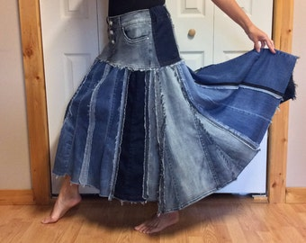 Upcycled Denim Maxi Skirt/Recycled Blue Jean Skirt/Plus Size Skirt/Long Swing Skirt/Cowgirl/SouthWestern/Repurposed Clothes/Womens Size XL