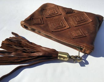 Buttery Soft Leather, Leather Clutch, Boho Clutch, Tribal Clutch, Bohemian Clutch, Boho Leather Clutch, African Clutch, Leather African Bag
