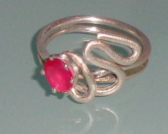 Rich Raspberry Ruby Sterling Silver Abstract Ring