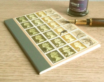 Olive Green Retro A6 Notebook | Upcycled Lined Kraft Writing Journal | recycled British postage stamp | eco hipster mailart stationery gift