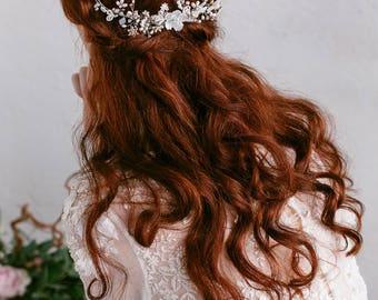 Wedding Headpiece , Bridal Hair Piece , Wedding Hair Accessories, Pearl Hair Comb, Floral Hair Comb, Swarovski Crystal Opal Headpiece ,Boho