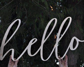 Big Hello Sign - Wood Hello, 39 Inches Long, Entrance Decor, Doorway Sign, Welcome, Hi, Large Hello Sign