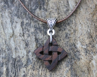 Celtic Knot Necklace, Small Irish Charm, Hand-carved Rosewood Celtic Love Knot Pendant, Unique Irish Gift, 5th Wedding Anniversary Gift