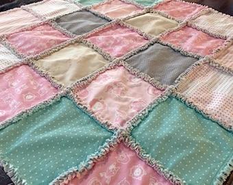 Baby Girl Rag Quilt Blanket, Farm Animals, Pink and Gray, Grey, Mod, Modern, Sheep, Cat, Dog, Horse, Pig, Goat, Rag Quilt
