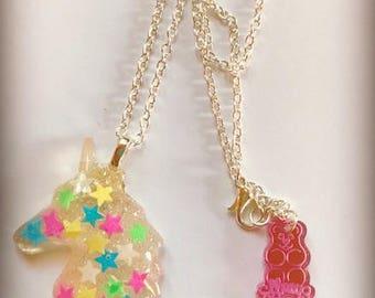 Syrupy Sweet Star Glitter Unicorn Pendant