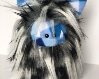 Stuffed Monster - Monster Plushie - Blue Monster Doll - Cuddly Boy Monster - Soft Toy Plush Monster - Fuzzling - Monster Softie - Handmade
