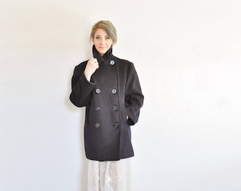 standard issue nautical navy peacoat . thick wool sailor blue trench coat .large.extra large.xl .donate good cause