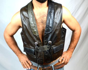 Vintage 70s Schott NYC Western Motorcycle Vest with Conchos