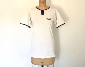 Vintage Yale Shirt White 1970s T-Shirt College Champion Ringer Top S/M