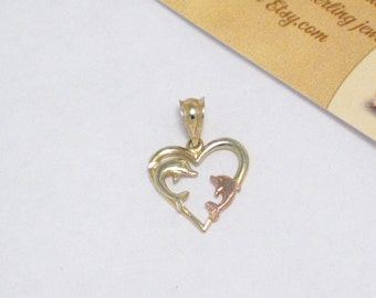 solid 14k rose yellow gold dolphin heart pendant charm 4 necklace womens fine jewelry