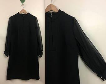 Vintage 1960s Little Black Dress - Sheer Long Sleeves - XL
