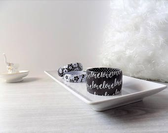 Love Bracelet - Word Bracelet - Love Jewelry - Black and White Bracelet - Love Bangle - Engagement Gift - First Anniversary Gift