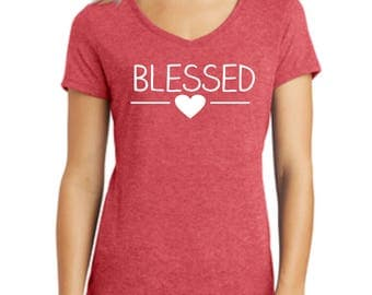 Blessed Shirt, Ladies Shirt, V-Neck Shirt, Sparkle Shirt, Glitter Shirt, Choose Your Print Color