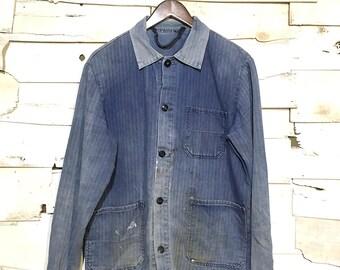 Vintage French Work Jacket Work Distressed Chore Coat