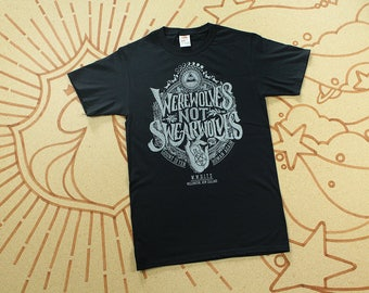 Werewolves Not Swearwolves T-shirt //  What We Do In The Shadows Shirt // Hand Screen Printed // Available in Plus Sizes // Black & Silver