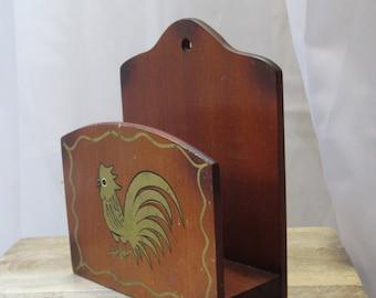 Vintage Country, Gold Rooster, Wall Letter Holder, Mail Holder, Napkin Holder, Woodpecker Wood ware Japan