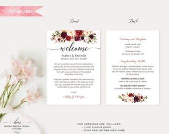 Printable Burgundy Floral Wedding Welcome Letter Itinerary, Double Sided 5x7 Welcome Bag Note Card PDF Template vistaprint, DIY Download #01
