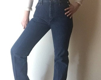 Ultra High Wranglers | indigo blue high waist vintage 80s 90s country denim jeans straight boot leg cut offs hipster mom medium 8 30 waist