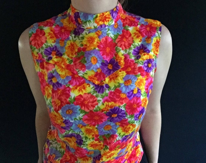 Floral Tank | XS/S mock neck bright colorful flower print sleeveless tank top MOD 60s 70s womens extra small  H Bar C ranchwear psychedelic