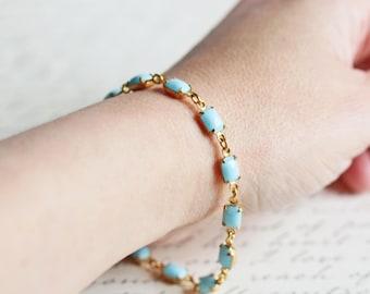Light Aqua Blue Rhinestone Line Bracelet with Gold Plated Clasp