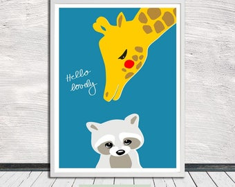 Cute animal print, hello lovely, racoon and giraffe print (blue), nursery art, Instant Digital Download (for self printing)