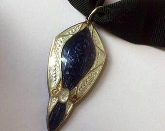 Edwardian art nouveau antique guilloche enamel pendant in lilac, gold and white - on ribbon