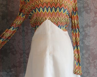 Sz S-M Rainbow Elastic Perforated Torso and White with Lace Mini Dress