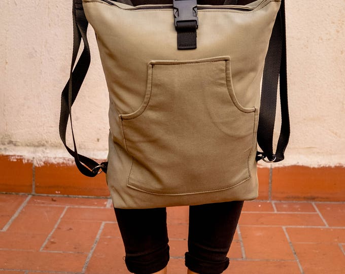 Green ish Beige Utility Backpack, Cotton Rucksack , Everyday Backpack