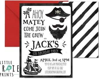 PIRATE BIRTHDAY INVITATION Pirate birthday invitation Watercolor pirate invitation Printable Pirate invitation Black and white pirate invite
